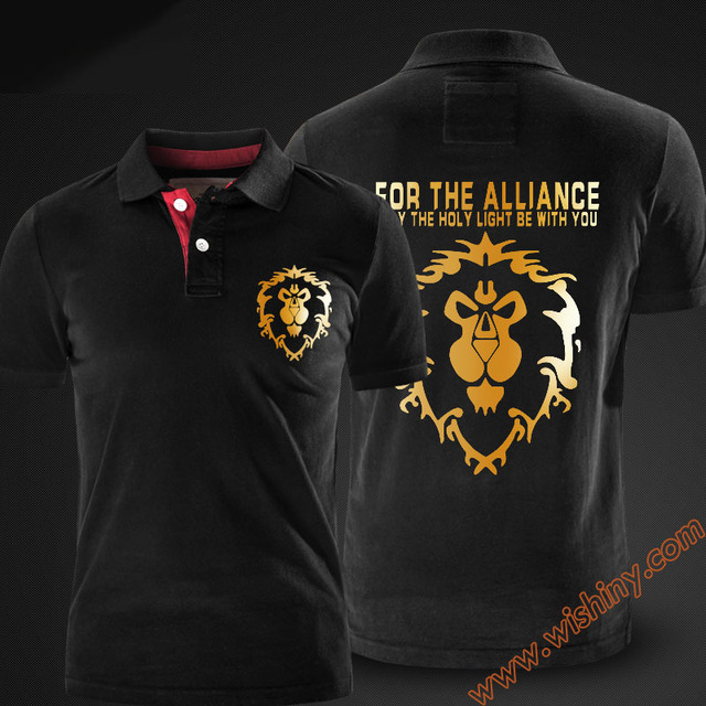 5f926aed Cool WOW Alliance Golden Lion Logo Polo Shirts Men Short Sleeve Tops Summer  Solid Black Red