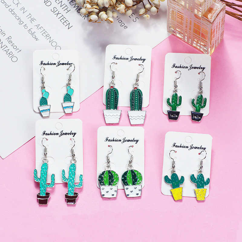 2018 Hot Fashion Earring Dangle Drop Green Plant Cactus Pot Culture Hook Earrings Wedding Jewelry For Women Girls Earrings
