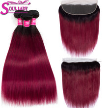 Soul Lady 1b/Burgundy Bundles With Frontal Two Tone Color Non Remy Ombre Peruvian Straight Weaves Ombre 3 Bundles With Frontal(China)