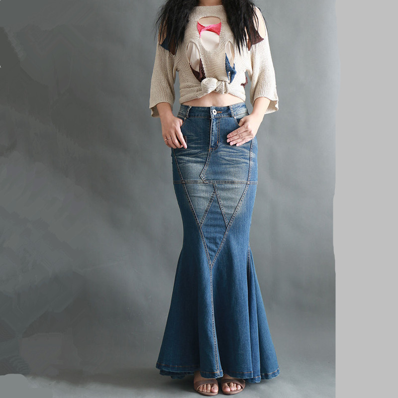 Free Shipping 2019 New Fashion Fish Tail Denim Mermaid Style Skirts For Women Denim Jeans Stretch S-XL Long Maxi Skirts Slim Hip