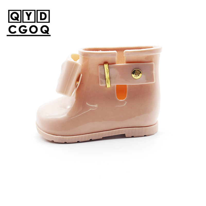 Mini Melissa Style Bow Rain Boots Original Girls Boots 2019 New Girls Jelly Sandals Kids Rain Boots Toddler Shoes Waterproof
