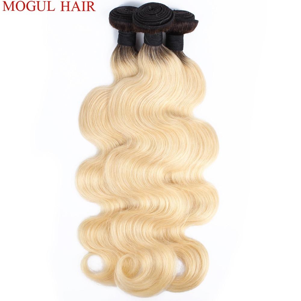 Potentat włosów T 1B 613 ciemny odrost Platinum blond wiązki z za darmo zamknięcie brazylijski włosy typu body wave splot wiązek Remy ludzki włos wyplata do przedłużania włosów w Warkocze od Przedłużanie włosów i peruki na AliExpress - 11.11_Double 11Singles' Day 1