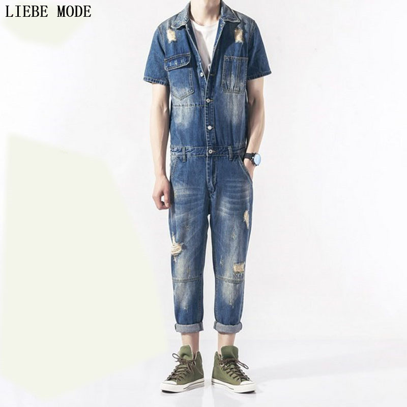 Men's Short Sleeve Denim Overalls Casual Long Length Jeans Jumpsuits Blue Ripped Jeans Mens Work Suspender Pants male suspenders 2016 new casual denim overalls blue ripped jeans pockets men s bib jeans boyfriend jeans jumpsuits