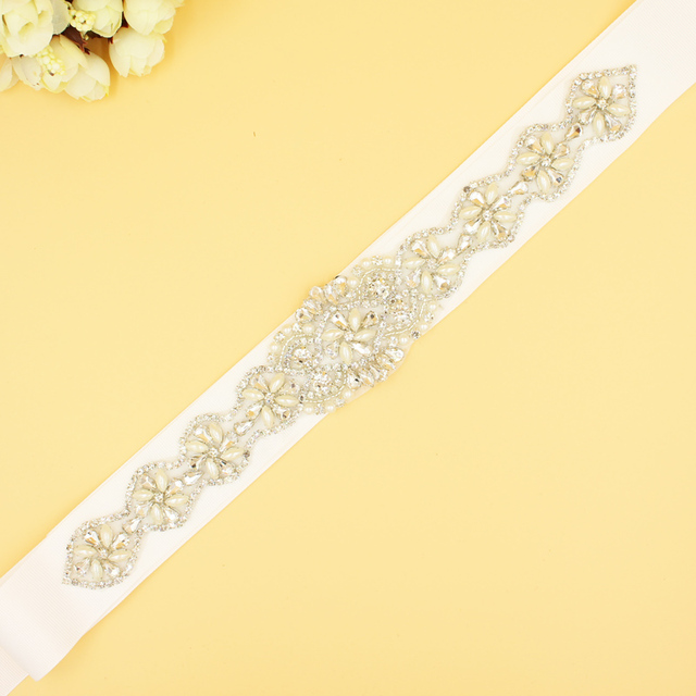 Ivory Waist Belt Wedding Accessories Beaded Sashes With Crystal Wedding Dresses Rhinestones Belts Grosgrain Belt Sash for Brides