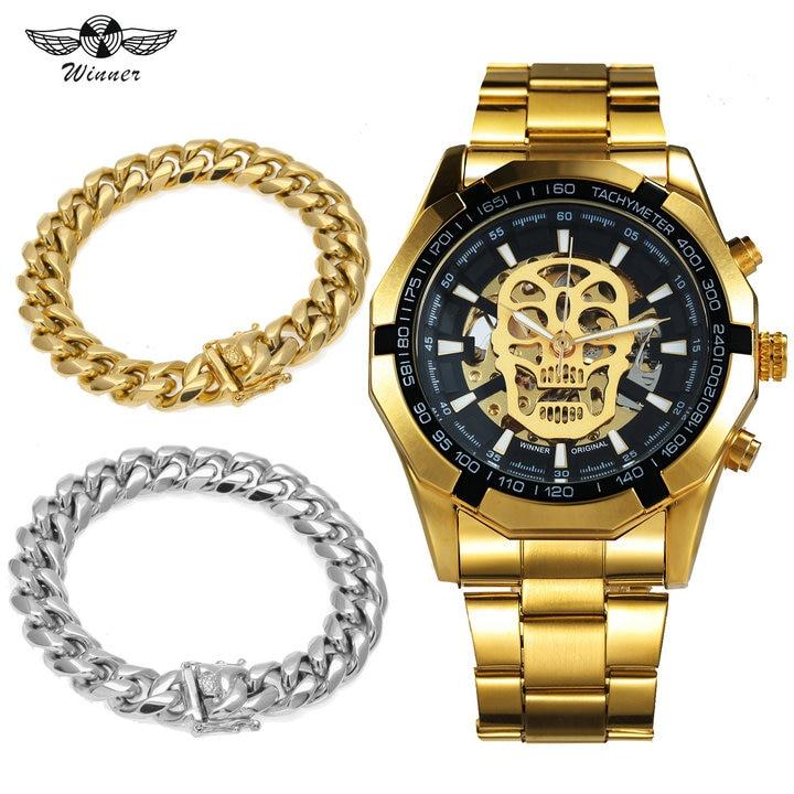 WINNER montres mécaniques automatiques officielles Bracelet en acier Top marque de luxe HIP HOP crâne montre hommes ensemble de bijoux + Punk Bracelet en or
