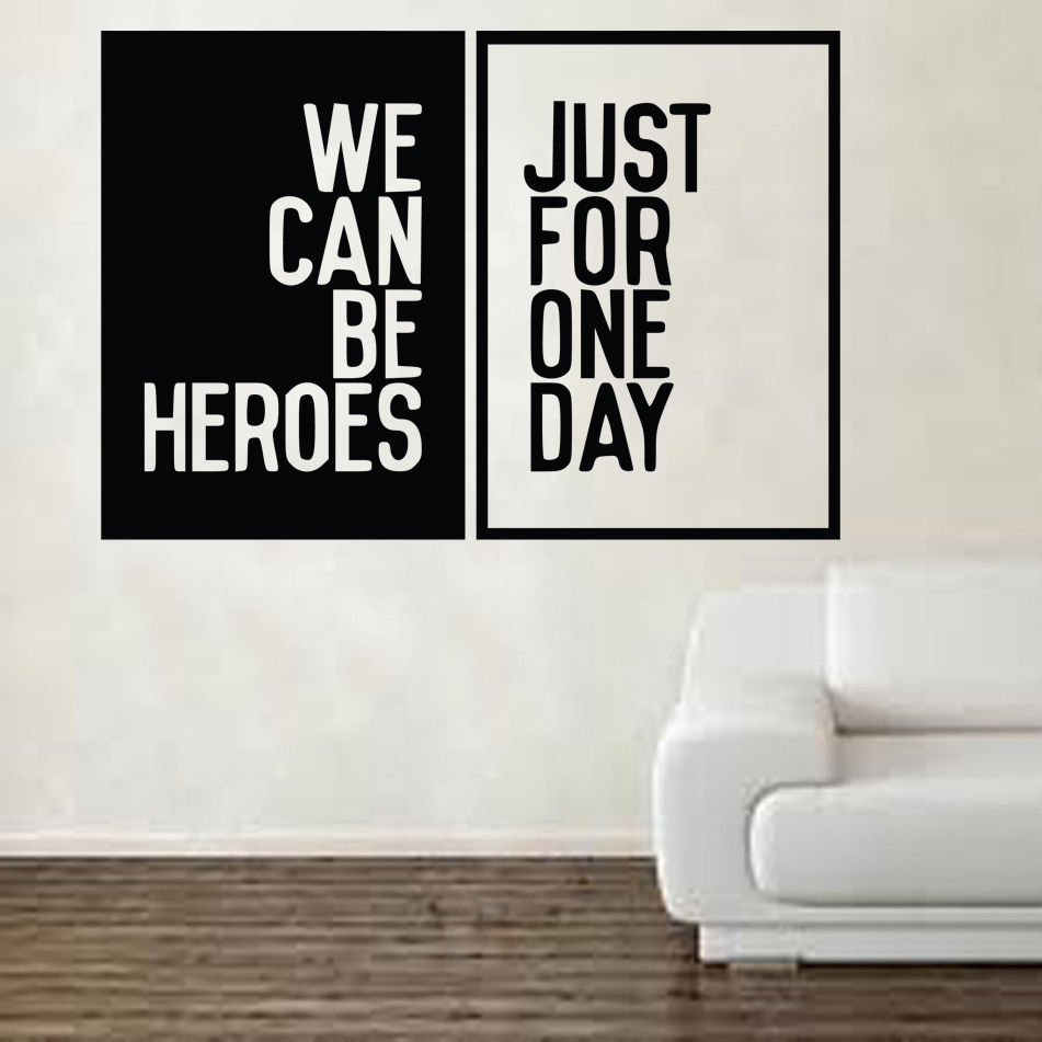 David Bowie Heroes Song Music Lyrics vinly muursticker kunst gratis verzending