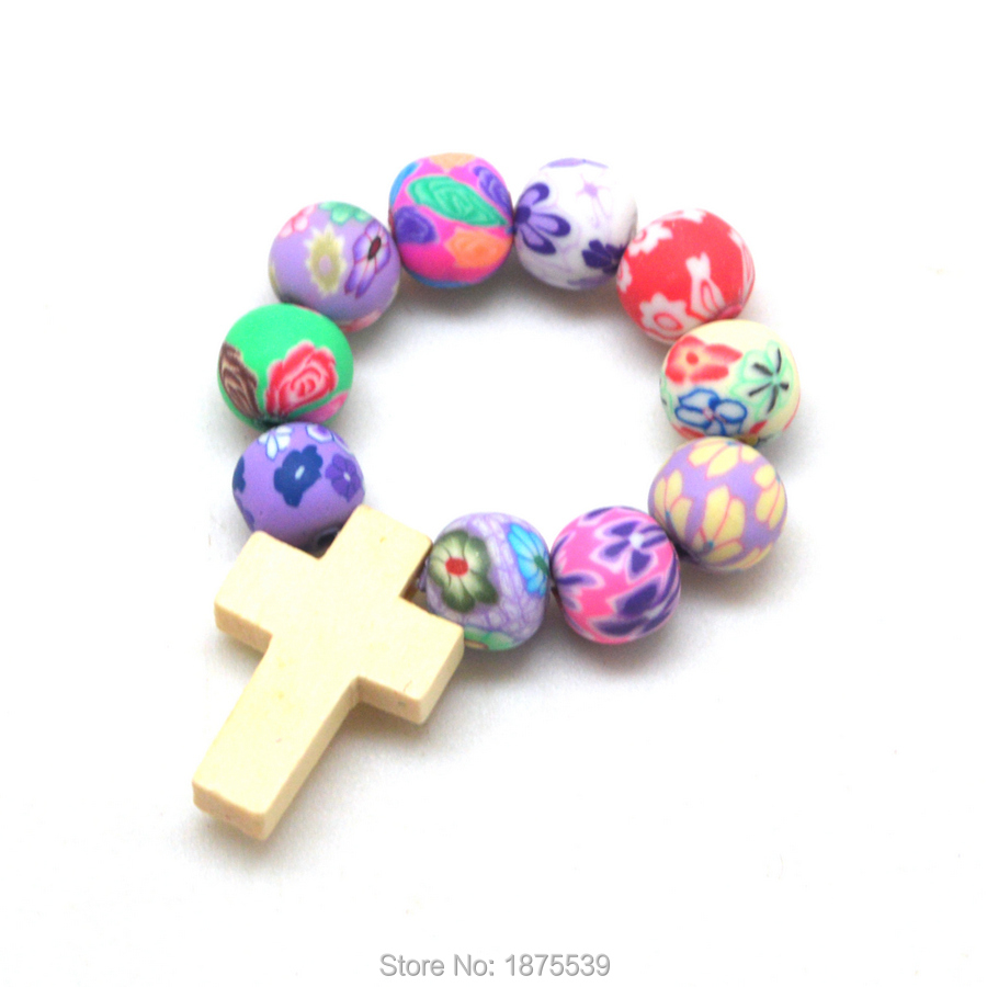 Beautiful Polymer Clay Bead Wood Cross Finger Rosary 1 Dozen 12 Pieces
