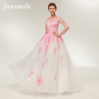 Fansmile Real Photo Simple Beach Lace Wedding Dress Long Sleeve 2018 Customized Plus Size Wedding Gowns Vestidos Novia FSM 374F
