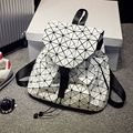 Women Backpacks Pu Leather Rucksacks Geometric Patchwork Shoulder Bags Hologram Laser Lattice College Bagpack String Mochilas