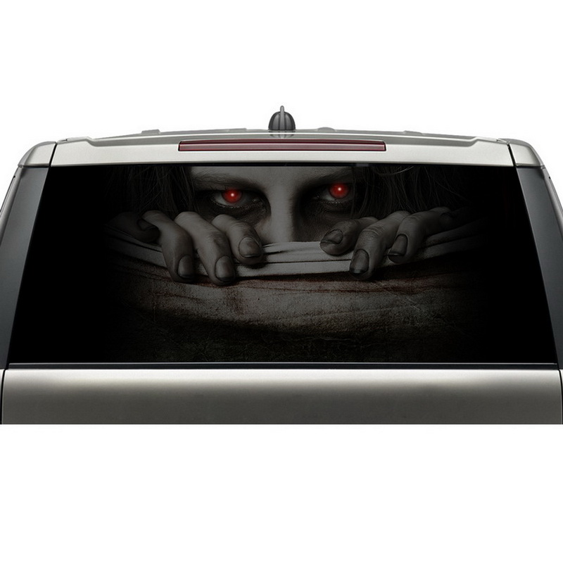 best selling products reusable removable adhesive graphic vinyl decal car rear window sticker with nice weather proof halloween decor sticker 3d transparent car back rear window decal vinyl sticker horror monsters zombie