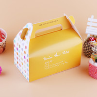 Colorful Dots Hello Kitty Handheld Muffin Mousse Cake Box Food Packaging Boxes Cake Paper Boxes For