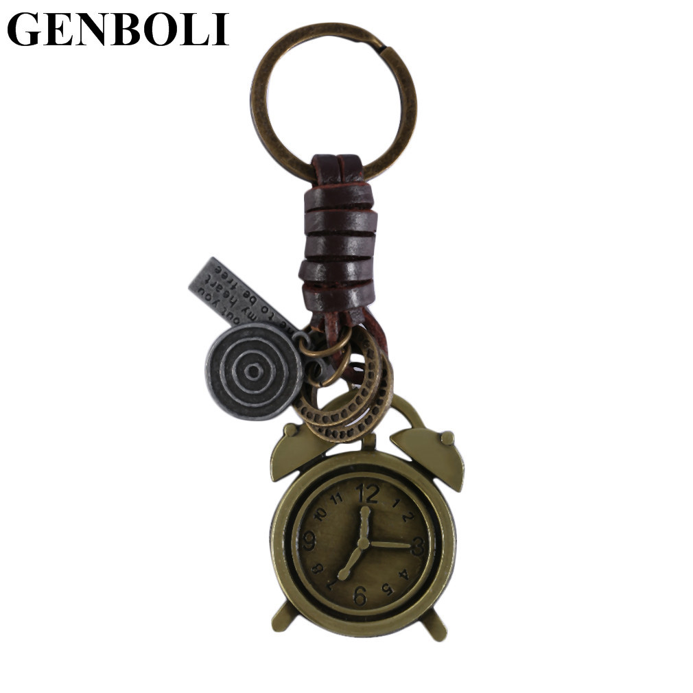 GENBOLI Vintage Bronze Design Keychains clock boots key Pattern Purse Bag Buckle Pendant fashion jewelry