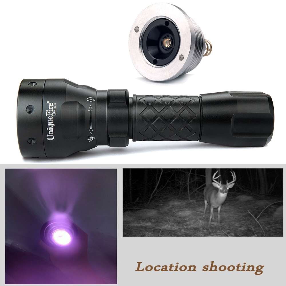 UniqueFire Tactical Flashlight 1407 IR 850nm Infrared Light Night Vision Hunting Flashlight+Drop-in 940nm Led Pill For Outdoor dc 22 shining hot selling drop shipping outdoor uf t20 cree infrared ir 850nm night vision zoom led flashlight lamp