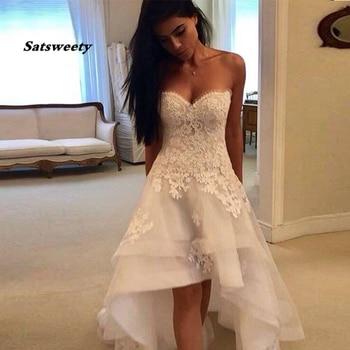 2020 Modest Beach Wedding Dresses Sweetheart Appliques High Low Country Wedding Dress Bridal Gown Robe Mariage Vestido de Novia
