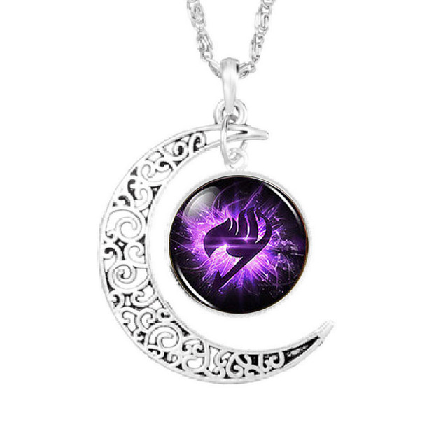 Anime fairy tail guild marks purple wing necklace pendant moon anime fairy tail guild marks purple wing necklace pendant moon necklace 1pcslot mens vintage aloadofball Images