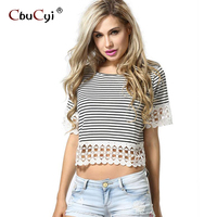 Cotton Striped Short Sleeve T Shirt Hollow Lace Fashion Woman S Shirt Manufacturers Wholesale