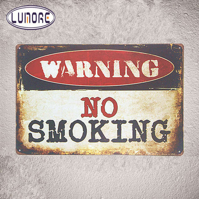 Metal Tin Sign Warning No Smoking Rustic Wall Plaque Garage Office  Restaurant Bar Iron Paintings
