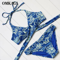 OMKAGI Bikinis Women 2017 Bandeau Swimsuits Low Waist Swimwear Printed Beachwear Bathing Suit Push Up Biquinis