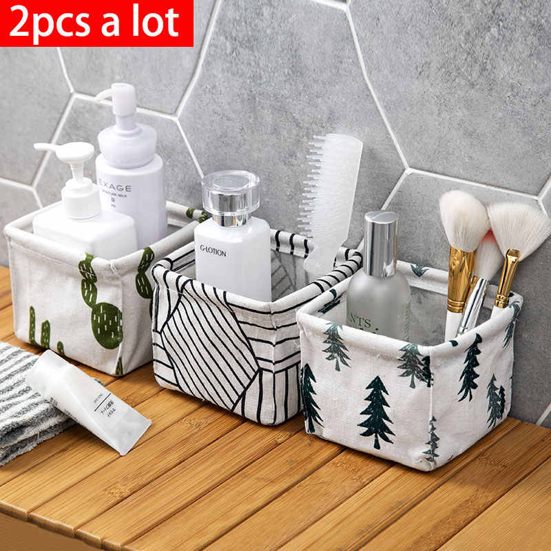 2pcs/vanzlife Cotton and linen receive case desk desktop stationery bag of rattan basket dresser cosmetics sundry storage boxs