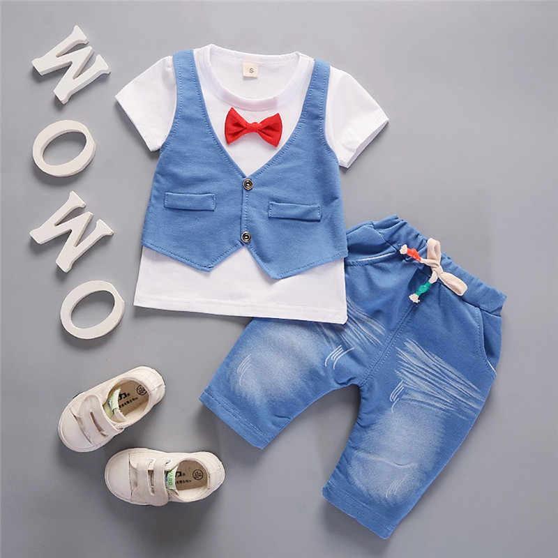 2019 Children Handsome Clothing Kids Bowknot Short Sleeve T-shirt+Pants Gentleman Clothes Set Baby Summer Clothes Roupa Menino