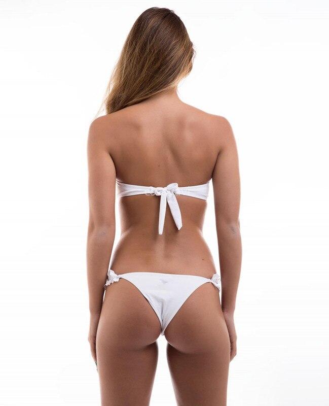 Padded Push Up Bikini Set Underwire Flower Ruffles Swimsuit For Women Sexy Solid Bandeau Female Bathing Suit 18 Summer Biquini 9