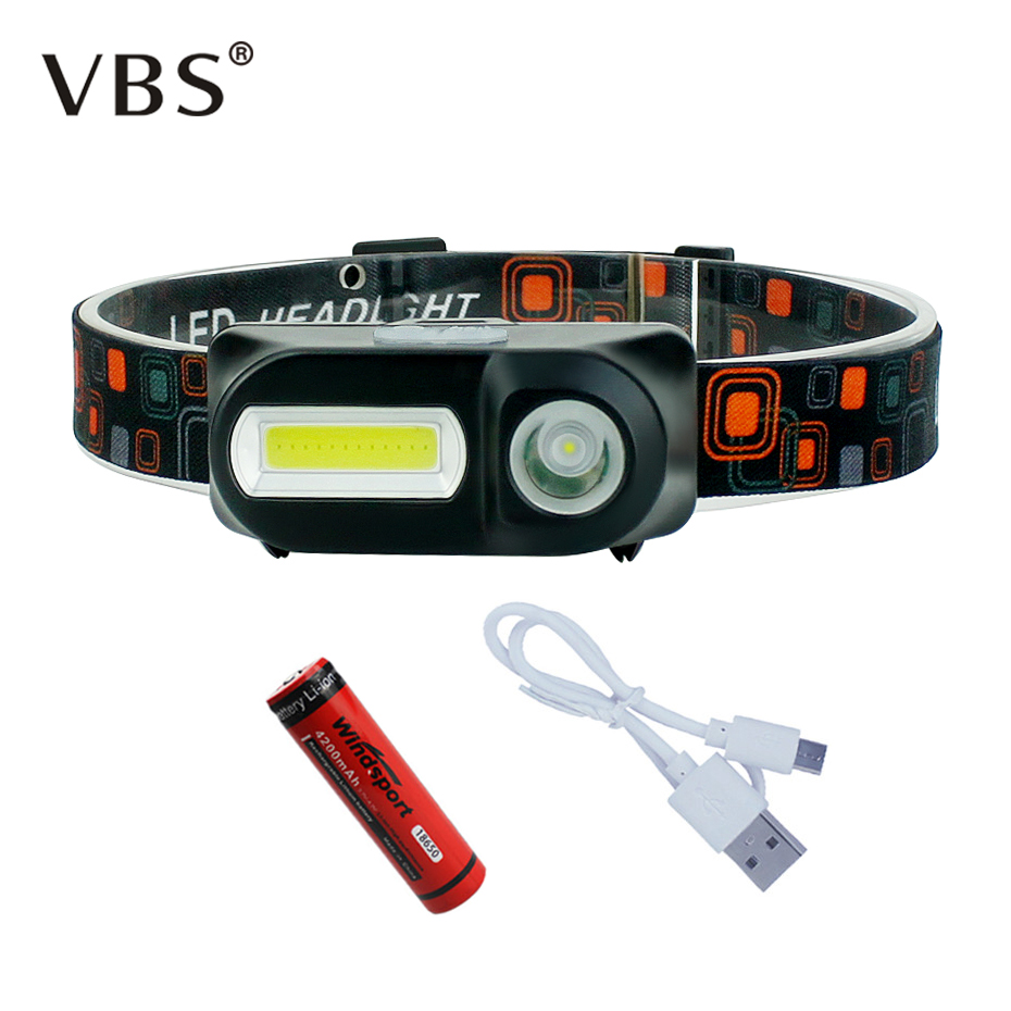USB Rechargeable Headlight 6 Modes Mini XPE+COB Headlamp 18650 Battery Flashlight Forehead For Camping Hunting Headlights
