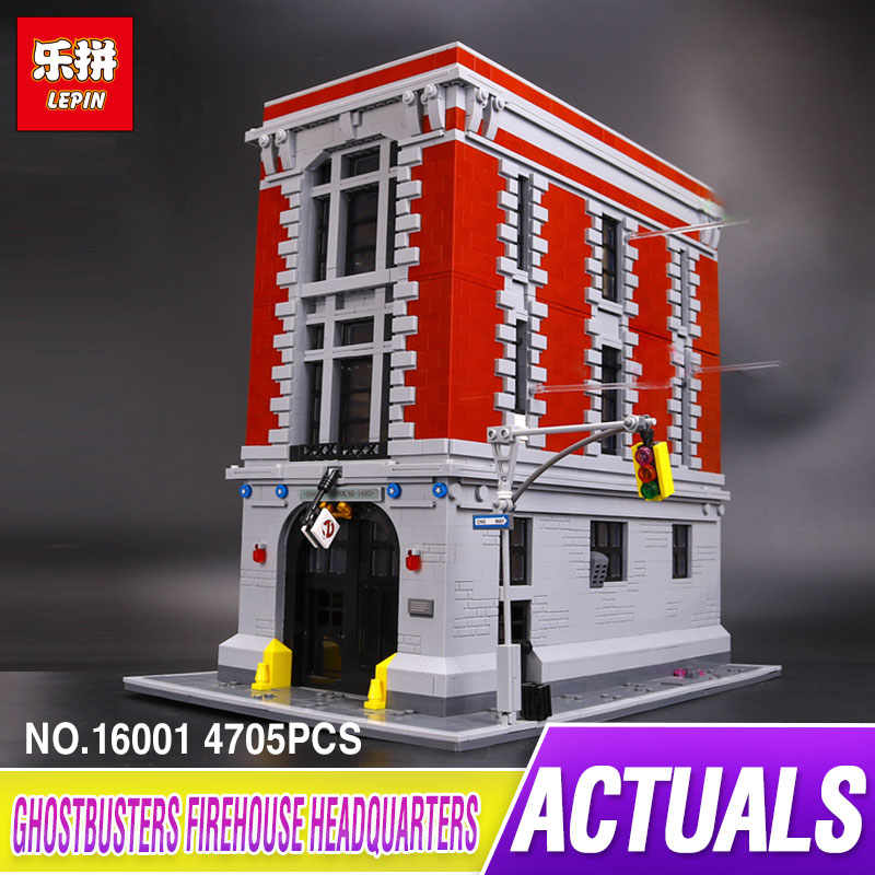 New LEPIN 16001 4705Pcs Genuine Ghostbusters Firehouse Headquarters Model Educational Building Kits Model set brinquedos Gifts 4695pcs lepin 16001 city series firehouse headquarters house model building blocks compatible 75827 architecture toy to children