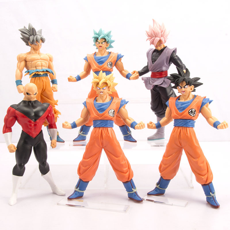 6-piece Set New Dragon Ball Super Goku PVC Action Figure Toys Saiyan Rose Jilian Model Doll