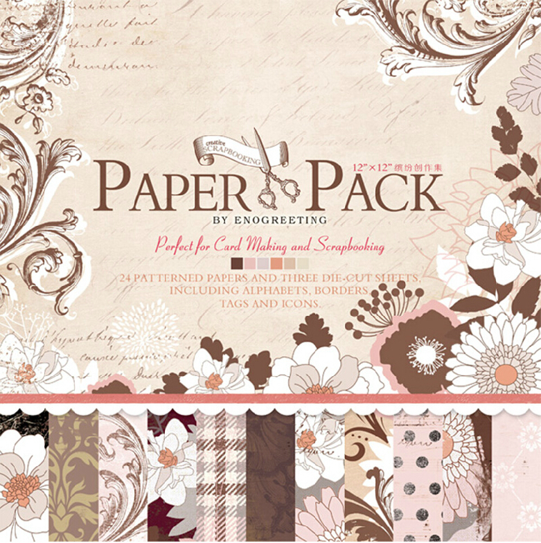 12x12 vintage paper pack perfect for card making and scrapbookingalphabet