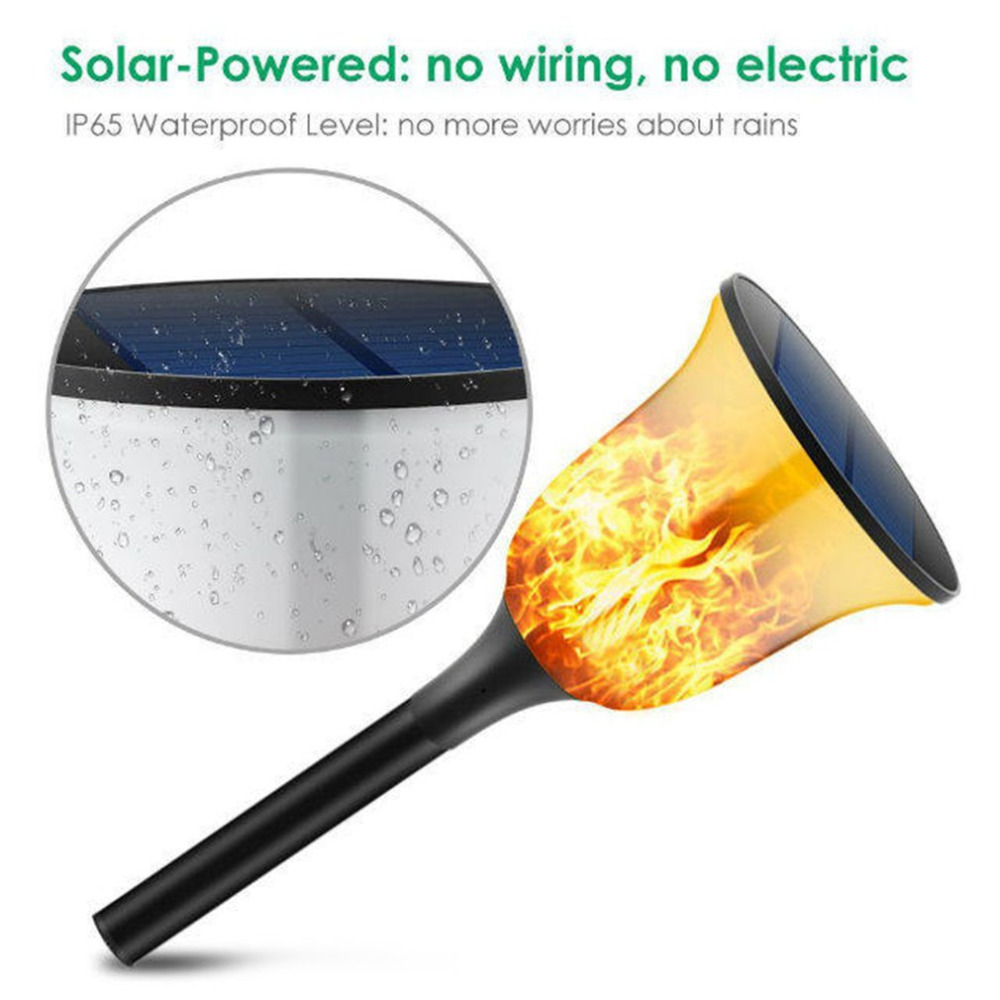 Solar 96LED Torch Light Flame Flickering LED Light IP65 Waterproof Outdoor Decor Light With Spike For Garden Path Lawn