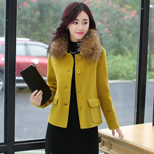 New Nice Autumn Winter Coat Women Short 2colors Slim Single-breasted Woolen Coat Wool Coats Jackets And Mixtures Plus Size  WD52