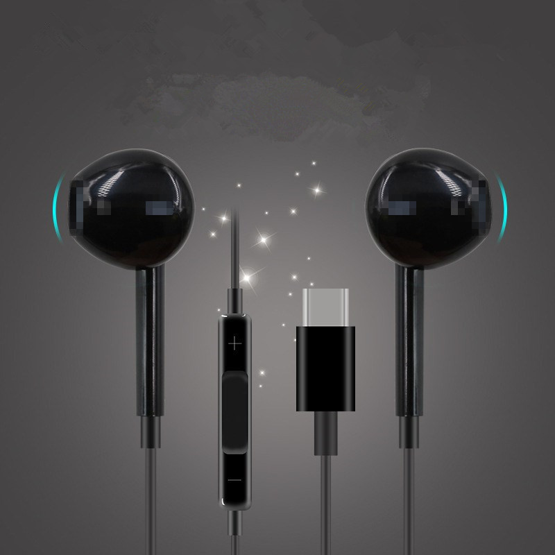 Type-C Wired Headphones Sound Recording Stereo Bass Microphone Hand Free In-Ear Earbud Noise Canceling Headset For Huawei Xiaomi
