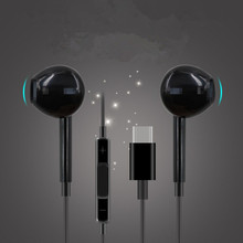 Type-C Wired Headphones Sound Recording Stereo Bass Microphone Hand Free In-Ear Earbud
