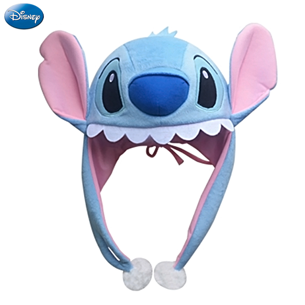 Disney Original Hat Mickey Mouse Minnie Stitch Cartoon Animal Plush Hat Cap Tab Plush Toys Birthday Christmas Gifts For Kids
