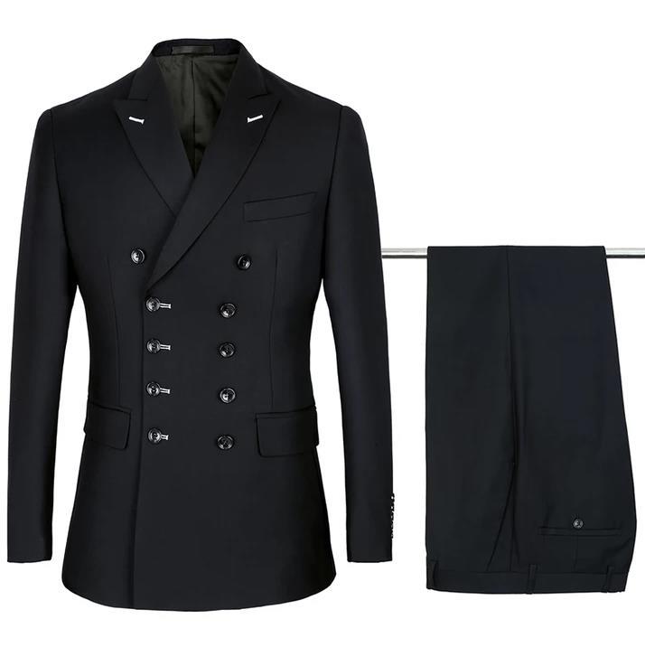 새로운 패션 사용자 정의 더블 브레스트 남자 정장 2020 블랙 공식 비즈니스 웨딩 턱시도 (자켓 + 바지)-에서정장부터 남성 의류 의  그룹 1