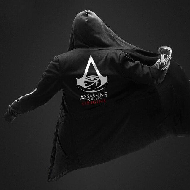 Autumn Winter Assasins Creed Hoodies Men Long Sleeve Sweatshirts Black Cloak Shawl Outwear Streetwear Style Hooded Men's Plus