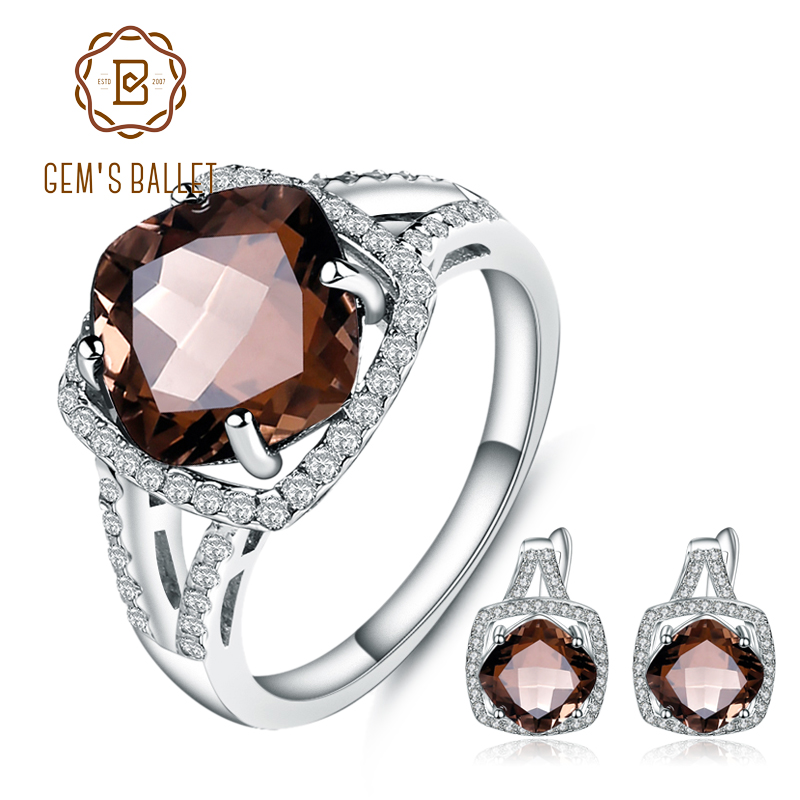 GEM S BALLET 9 6Ct Natural Smoky Quartz Jewelry Set For Women Wedding 925 Sterling Silver