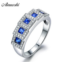 AINUOSHI 0.3 Carat Princess Cut 5 Blue Sona Rings 925 Sterling Silver Women Wedding Engagement Rings Anniversary Jewelry Gifts