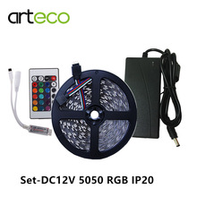 Set DC12V RGB LED strip 5050 IP20 No waterproof 5050 LED strip RGB with mini 24key RGB  controller + 5A adapter ,Free shipping