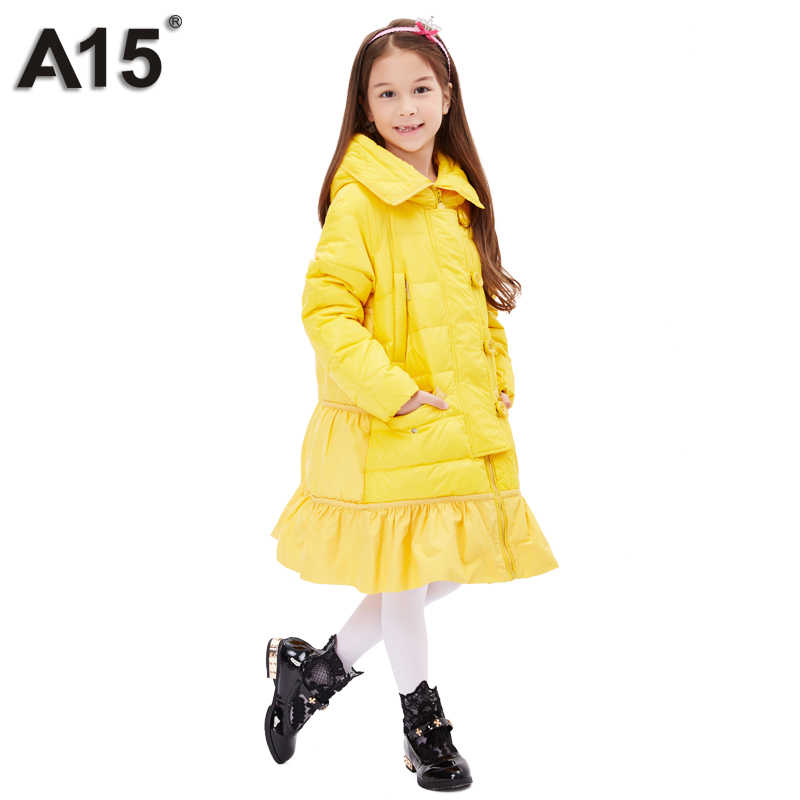 A15, пуховик для девочек, зима, толстая, 2018, Брендовое, модное, длинное, теплое пальто для детей, верхняя одежда с капюшоном для больших девочек 8, 10, 14