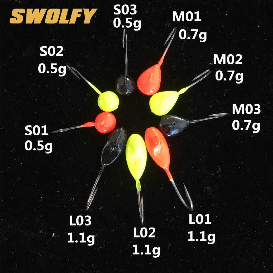 Swolfy 20pcs 0.5g 0.7g 1.1g Winter Ice Fishing Hook Lure Mini Metal Bait Fish Lead Head Hook Bait Jigging Fishing Tackle