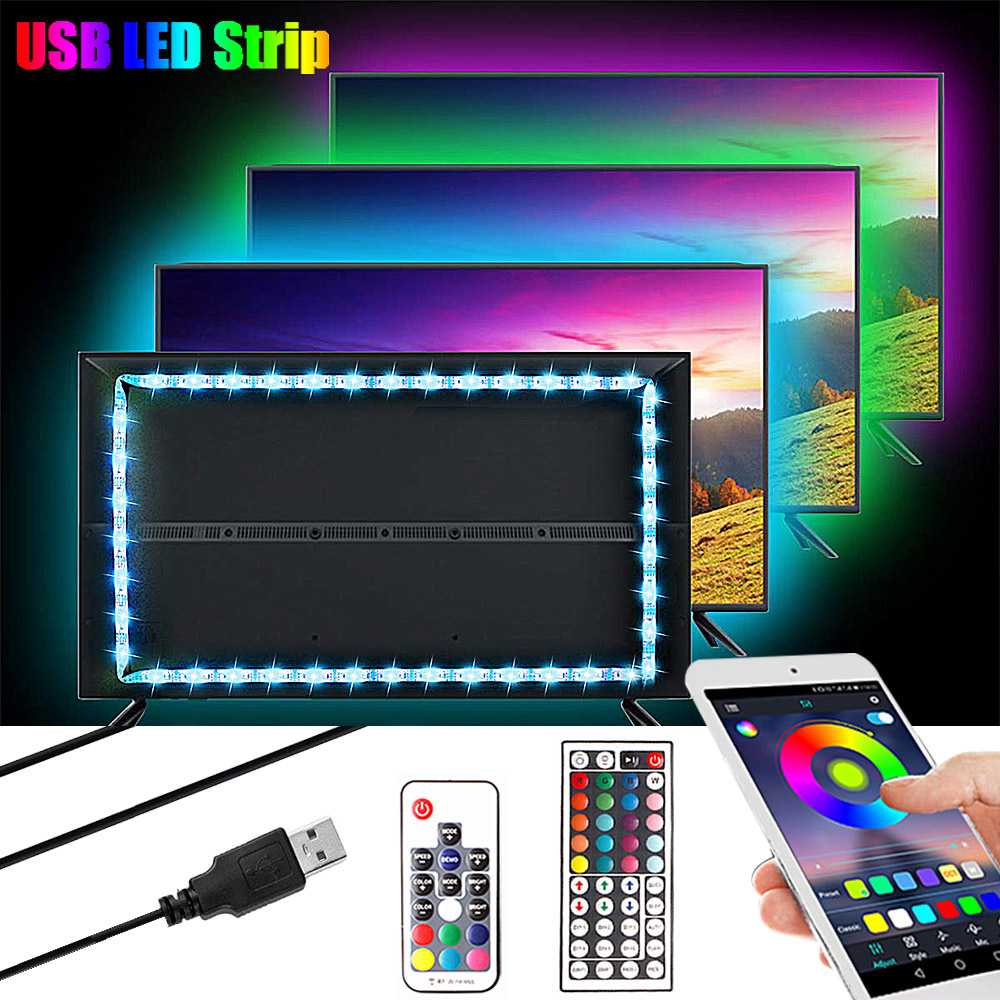 1M 2M 3M 5050 USB LED RGB Strip Light 5V TV Backlight Lighting Neon RGB LED Tape Music/Bluetooth/RF Controller Led Stripe Light