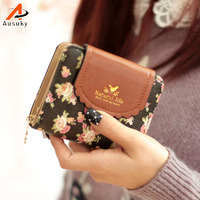 New Brand Fashion Flower Pendant Wallet Hasp Women Wallet PU Leather Coin Purse Card Holder Girl
