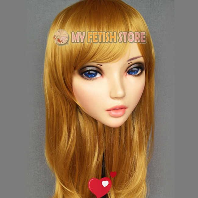 d7fc66475d4 ... (Fu-03)Female Sweet Girl Resin Half Head Kigurumi Mask With BJD Eyes ...