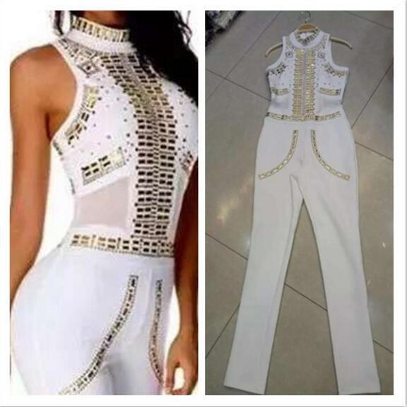 High Quality Black and White Color Ladies Full Length Sexy Bodycon Jumpsuit Rivet Fashion Party Palysuit