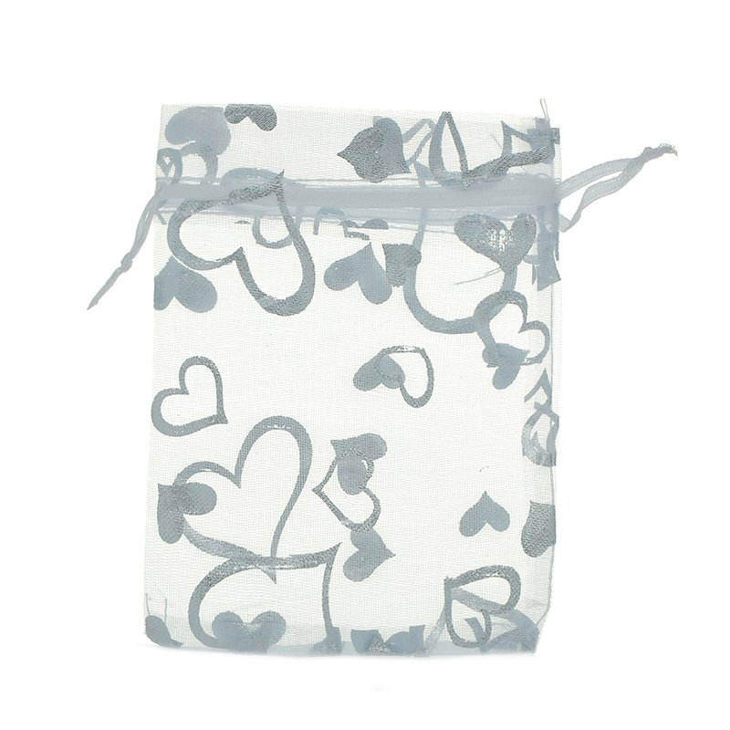 Urijk 100PC Organza Bags White Hearts Gift Storage Bags Charms Wedding Favours Gifts Silver Stars Silk Bags Holder Organizer