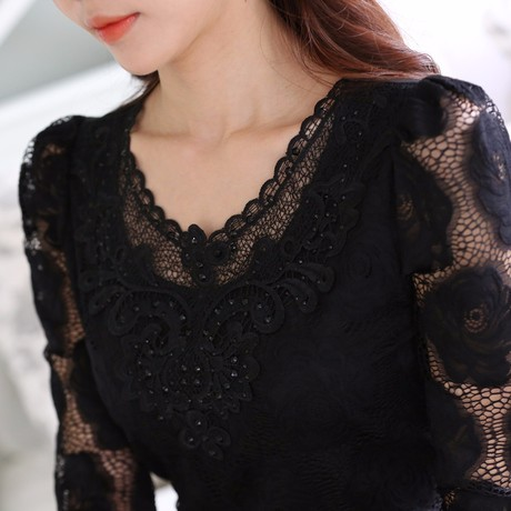 2015-New-Arrival-Korean-Beading-Crochet-Plus-size-White-Short-Sleeve-Chiffon-Shirt-Feminine-Lace-Blouse (1)