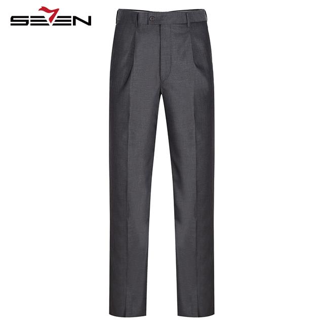 Seven7 Marca Hombres Pantalones Formales Clásico Frente Plisado Vestido Largo Pantalones Regular Fit Gris Oscuro Pantalones Rectos de Trajes 706B73090
