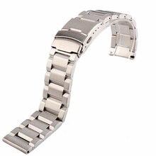 купить 18 20 22 24mm New Man Silver Brushed Solid Stainless Steel Bracelet Watch Band Strap Belt  Double Push Clasp relogio masculino по цене 826.51 рублей