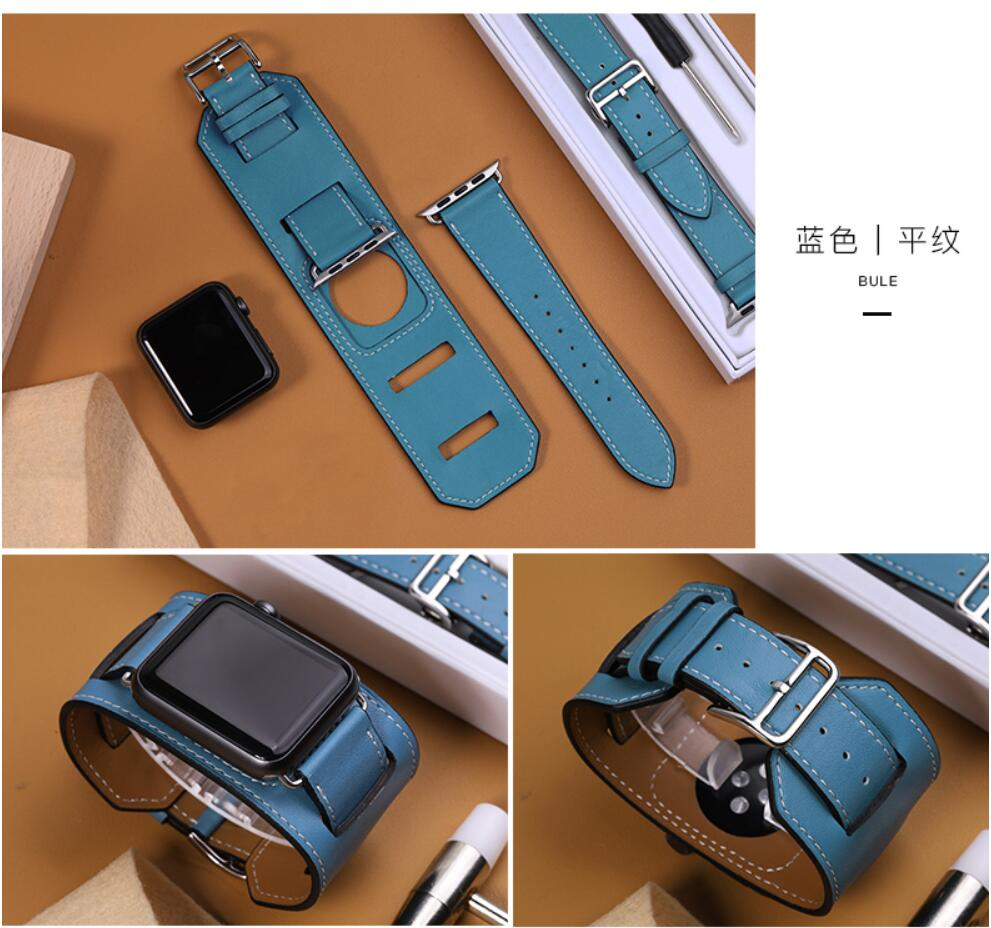 YIFALIAN Series 2/1Genuine Leather Loop For Apple Watch cuff Band 42mm Adjustable strap leather 38mm